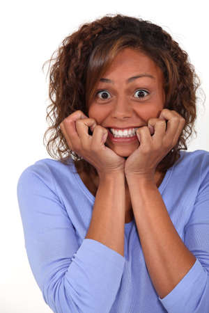 eagerness: Excited woman Stock Photo