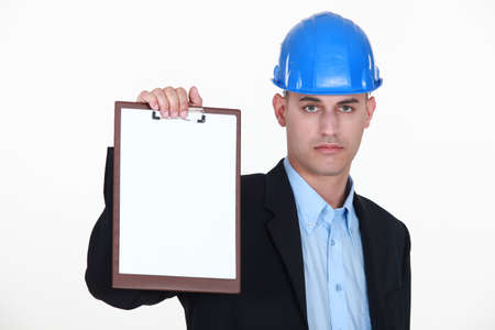 foreman showing clipboard isolated on white Stock Photo - 15854585