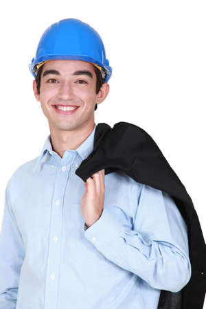 chirpy: Young architect holding jacket over shoulder