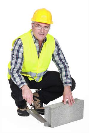 reflective vest: Bricklayer in a reflective vest