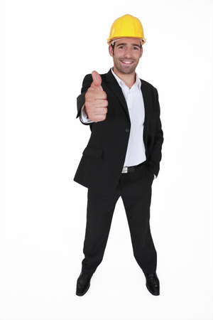 Happy architect giving the thumbs-up Stock Photo - 15852682