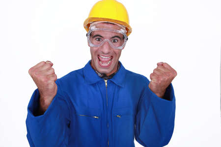 Ecstatic construction worker photo