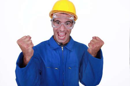 journeyman technician: Ecstatic construction worker