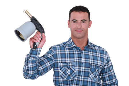 blowtorch: Man showing blowtorch on white background Stock Photo