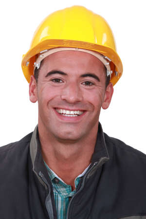 gratified: craftsman smiling Stock Photo