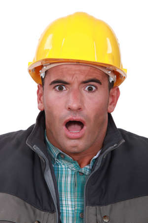 portrait of terrified laborer Stock Photo - 15861661