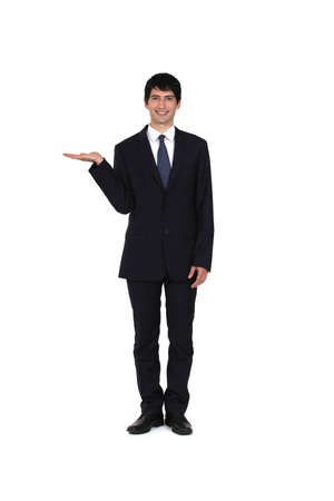 empty handed: Businessman promoting a product Stock Photo