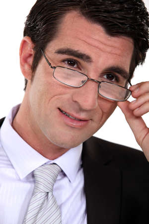 Closeup of a businessman wearing glasses Stock Photo - 15859532