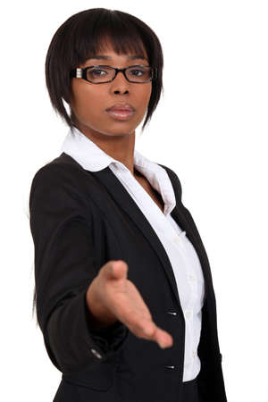 Afro-American businesswoman handshaking photo