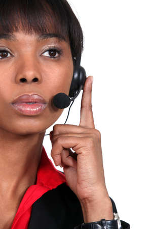 Pensive call-center worker Stock Photo - 15856638