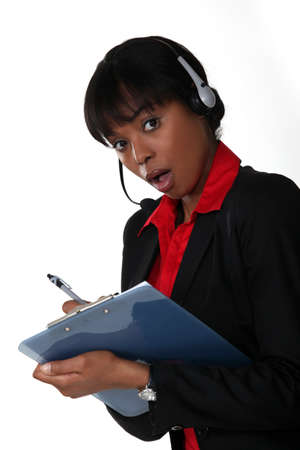 Surprised call-center manager photo