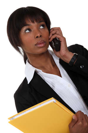 Afro-American businesswoman on the phone Stock Photo - 15856625