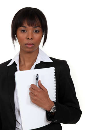 unreadable: Businesswoman with a deadpan expression