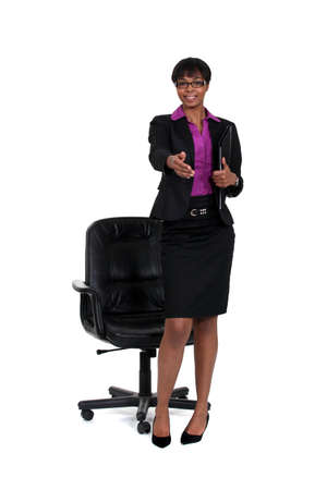 stretched out: Businesswoman with hand stretched out