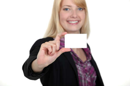 young businesswoman holding a visit card Stock Photo - 15915382