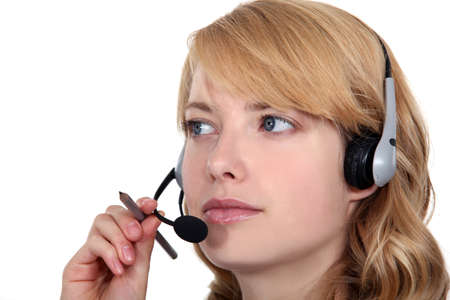 attentive: Attentive call-center worker Stock Photo