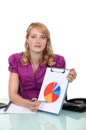 piechart: Woman pointing to pie-chart