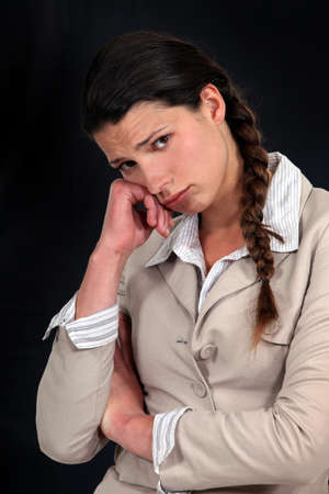 teary: Troubled businesswoman Stock Photo