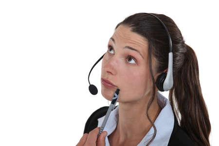 sales representative: Pensive receptionist