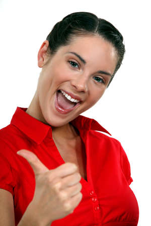 peppy: Peppy woman giving the thumb Stock Photo