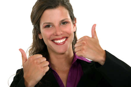 Businesswoman giving two thumbs-up photo
