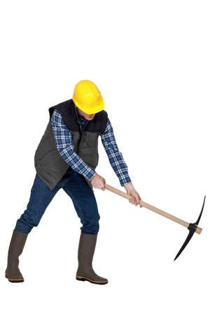 mattock: Man with a pickaxe