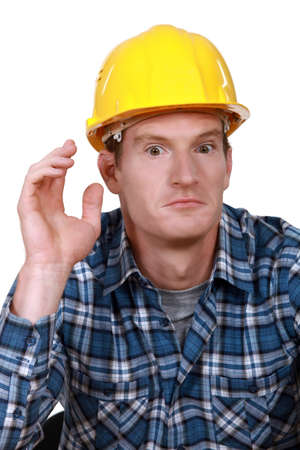 confound: Dumbfounded construction worker