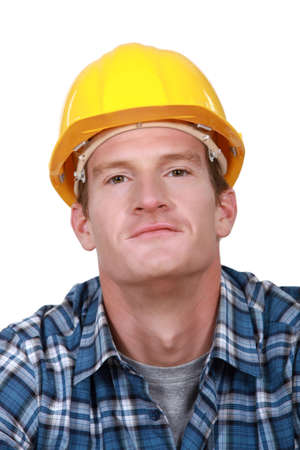 contented: Portrait of a contented tradesman Stock Photo