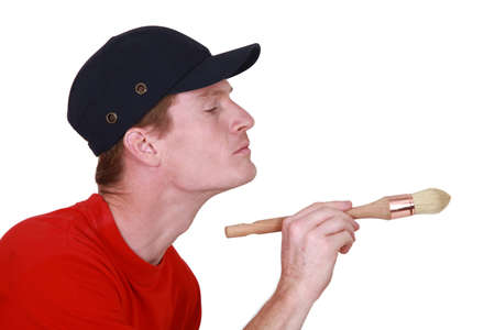 meticulous: A painter at work  Stock Photo