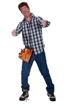 struggling: Electrocuted man struggling to stay standing Stock Photo