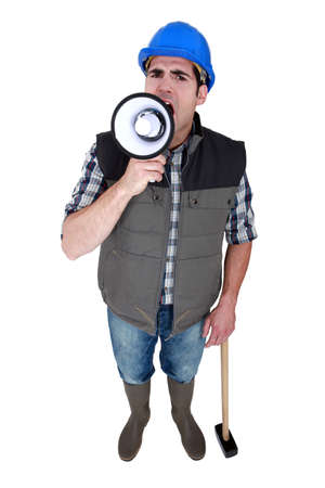 Horizontal Image of worker with megaphone photo