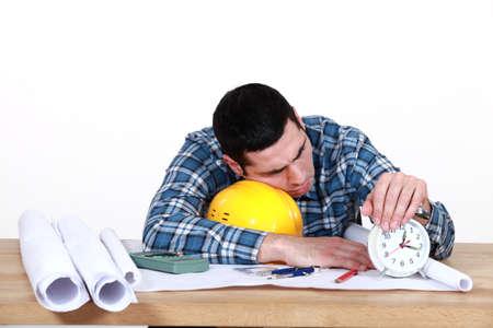 craftsman sleeping at his desk Stock Photo - 15915997