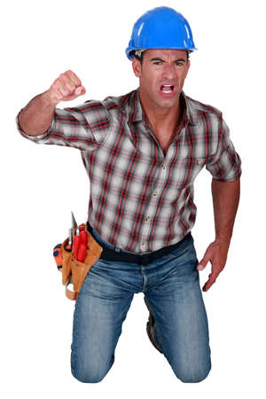 unyielding: Man fighting for his rights Stock Photo