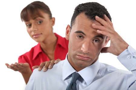 irritating: Fed up office worker
