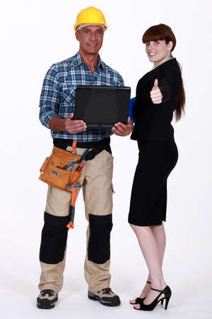 55 60 years: Portrait of an optimistic tradesman and engineer Stock Photo