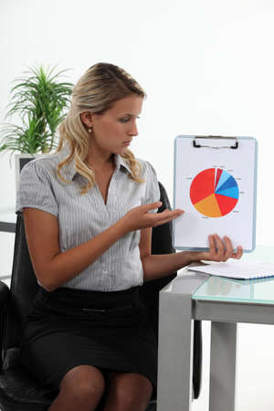 Businesswoman presenting a pie chart photo