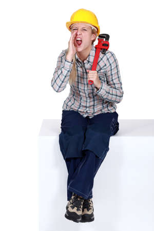 craftswoman: craftswoman shouting Stock Photo