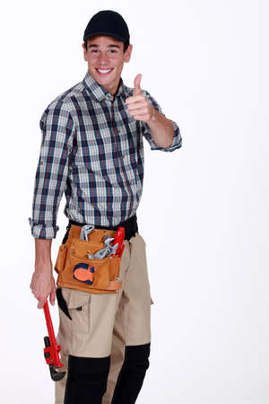 Thumbs up from a tradesman photo
