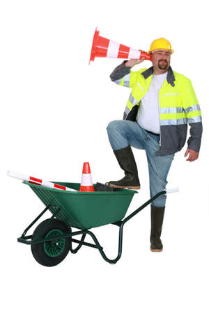 traffic cone: construction worker