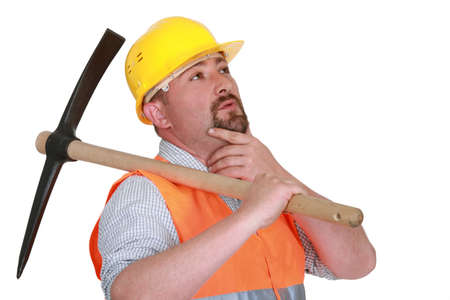 ax man: Pensive man with pick ax