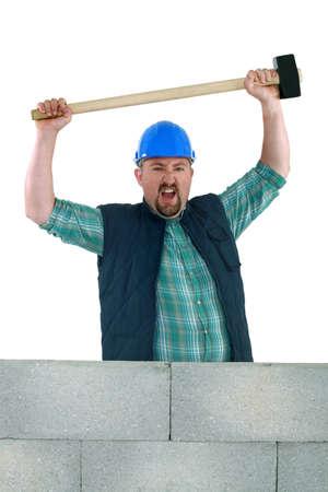sledge hammer: Animated builder holding sledge-hammer
