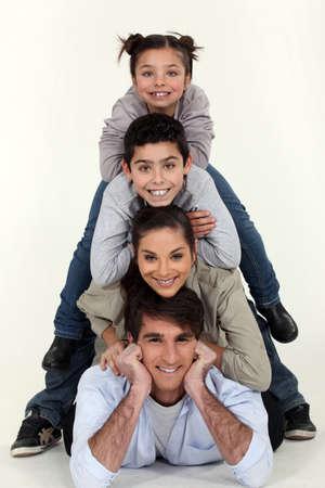 all smiles: family pyramid Stock Photo