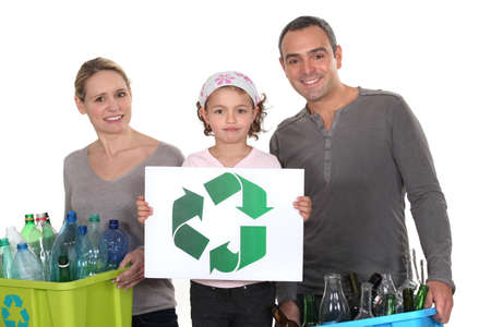 sorting: family waste sorting Stock Photo