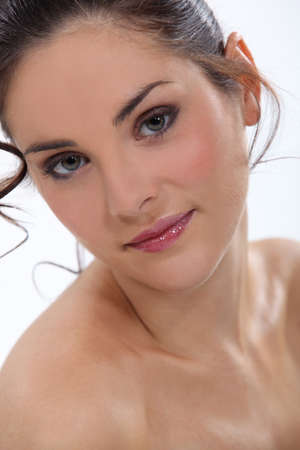 topless brunette: Close-up of nude brunette