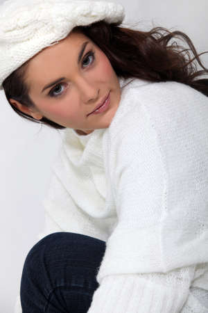 beautiful woman wearing woolen sweater and hat Stock Photo - 15916221