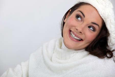 blissful: Portrait of a blissful woman in white