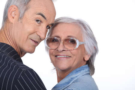 far sighted: Senior couple Stock Photo