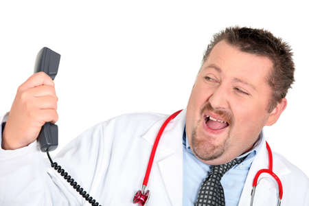 reprimanding: Doctor with a phone