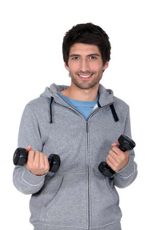 man with dumbbells photo