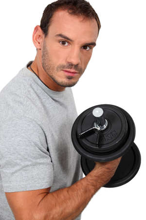 Man lifting a dumbbell